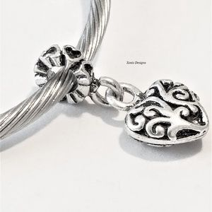 European Scroll Swirl Heart Charm Bead